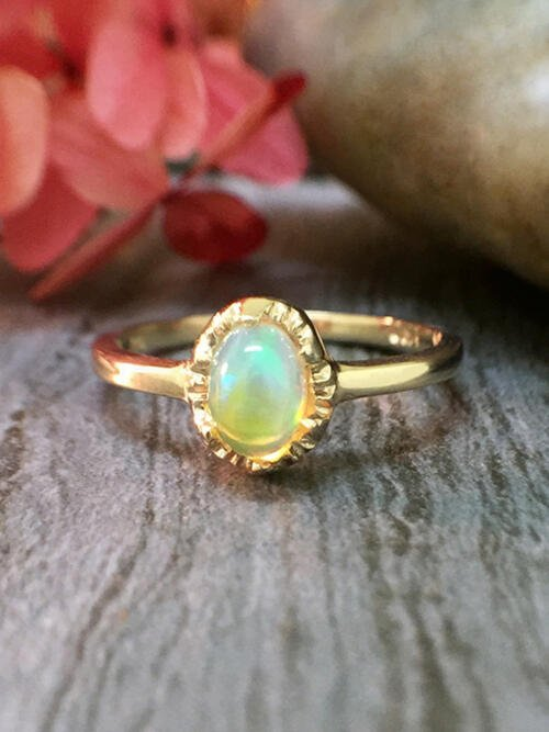 6x4MM Opal <Modified Prong> Solid 14K Yellow Gold (14KY) Affordable Colored Stone Wedding Ring