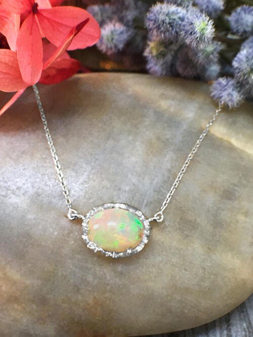 5x7MM Opal Pendant <Modified Prong> Solid 14K White Gold (14KW) Colored Stone Chain Necklace