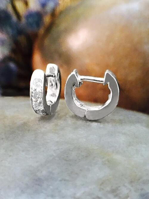 6MM Diamond Cartilage Hoop <Pave> Solid 14K White Gold (14KW) Minimalist Petite Piercing Earrings