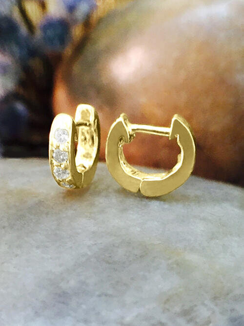6MM Diamond Cartilage Hoop <Pave> Solid 14K Yellow Gold (14KY) Minimalist Petite Piercing Earrings