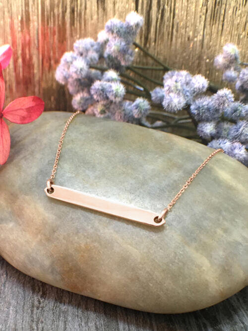 Bar with Engraving Option Available Pendant Solid 14K Rose Gold (14KR) Minimalist Chain Necklace