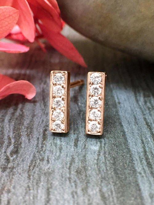 8.7x2.5MM Bar Diamond Stud <Pave> Solid 14K Rose Gold (14KR) Geometric Minimalist Earrings