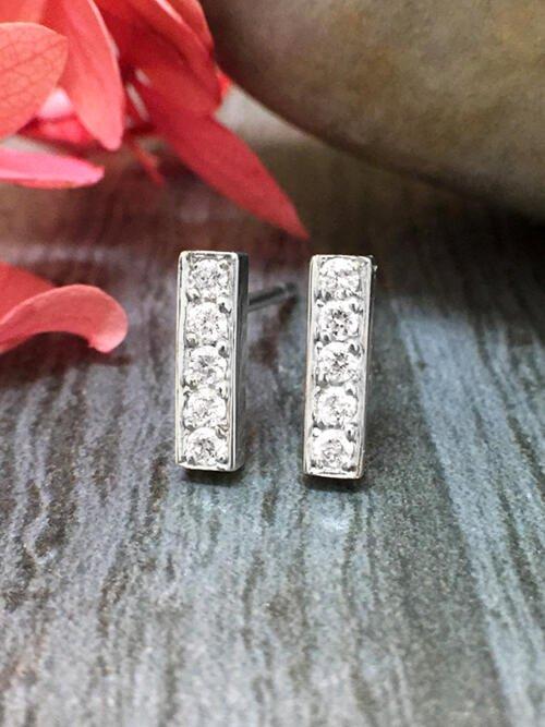 8.7x2.5MM Bar Diamond Stud <Pave> Solid 14K White Gold (14KW) Geometric Minimalist Earrings