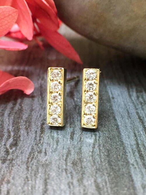 8.7x2.5MM Bar Diamond Stud <Pave> Solid 14K Yellow Gold (14KY) Geometric Minimalist Earrings