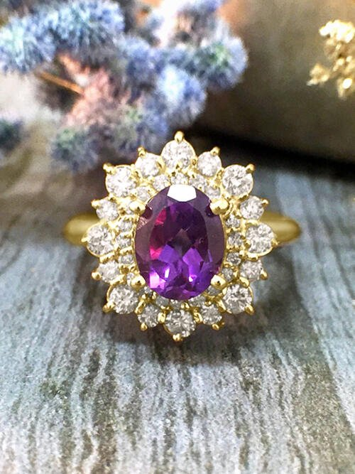 Amethyst and Diamond Halo Engagement <Prong> Solid 14K Yellow Gold (14KY) Colored Stone Wedding Ring