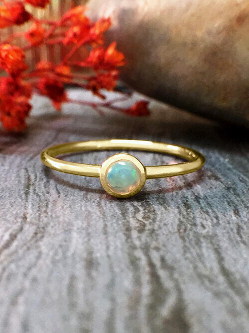 3.4MM Opal Solitaire <Bezel> Solid 14K Yellow Gold (14KY) Colored Stone Stackable Ring