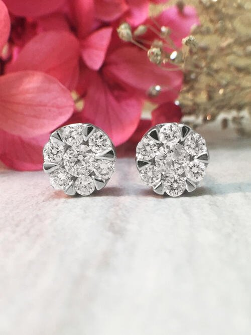 7.6x7.6MM Diamond Cluster Halo Stud <Modified Prong> Solid 14K White Gold (14KW) Earrings
