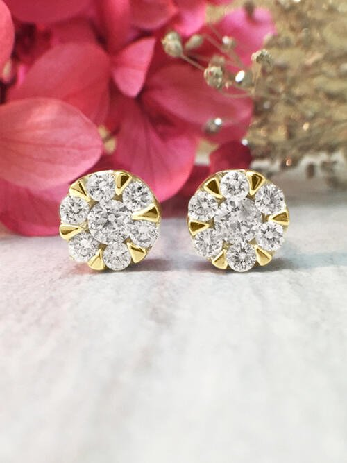 7.6x7.6MM Diamond Cluster Halo Stud <Modified Prong> Solid 14K Yellow Gold (14KY) Earrings