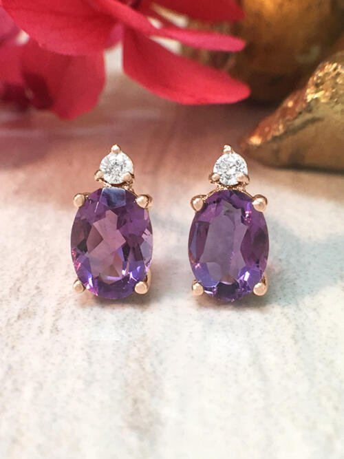 5x7MM Amethyst and Diamond Stud <Prong> Solid 14K Rose Gold (14KR) Colored Stone Earrings