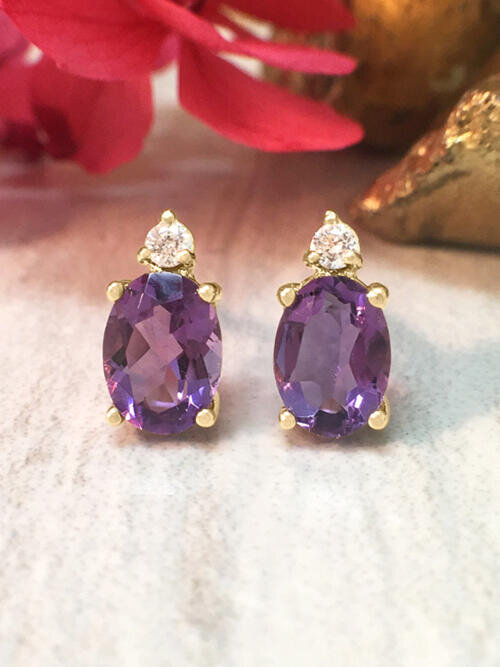 5x7MM Amethyst and Diamond Stud <Prong> Solid 14K Yellow Gold (14KY) Colored Stone Earrings