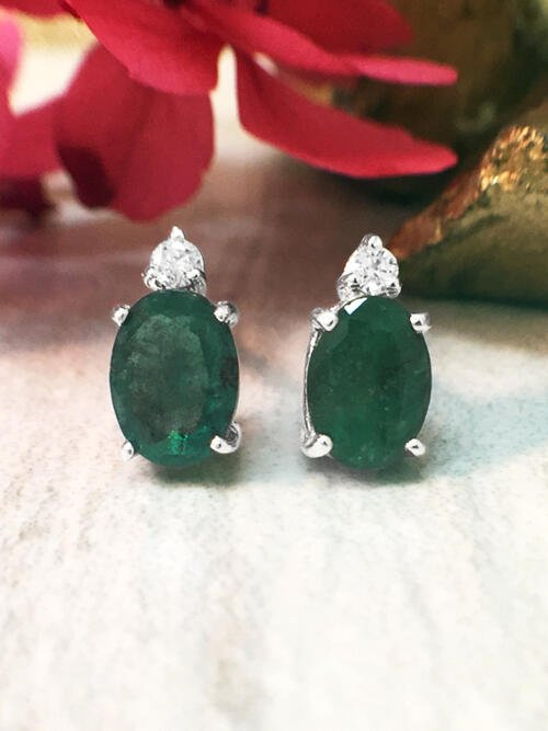 5x7MM Emerald and Diamond Stud <Prong> Solid 14K White Gold (14KW) Colored Stone Earrings