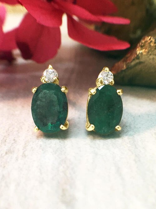 5x7MM Emerald and Diamond Stud <Prong> Solid 14K Yellow Gold (14KY) Colored Stone Earrings
