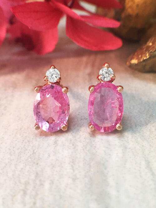 5x7MM Pink Sapphire and Diamond Stud Solid 14 Karat Gold Colored Stone Earrings