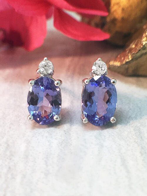 5x7MM Tanzanite and Diamond Stud <Prong> Solid 14K White Gold (14KW) Colored Stone Earrings