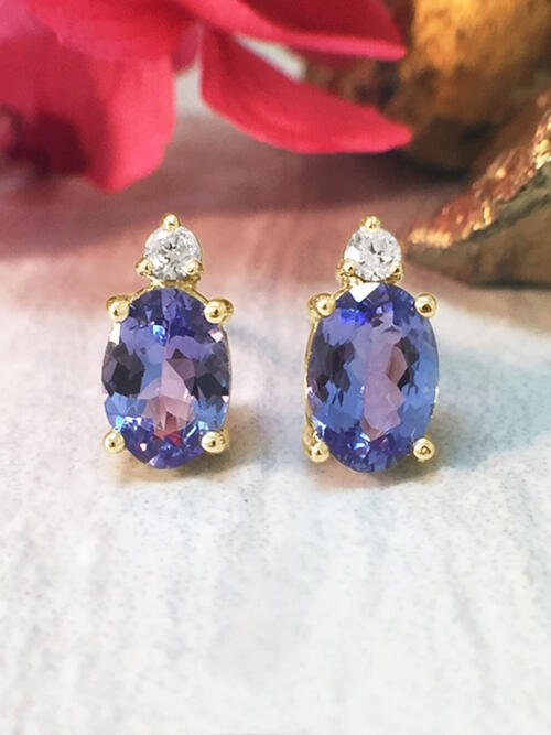 5x7MM Tanzanite and Diamond Stud <Prong> Solid 14K Yellow Gold (14KY) Colored Stone Earrings