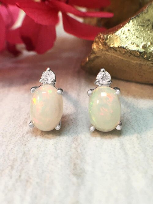 5x7MM Opal and Diamond Stud <Prong> Solid 14K White Gold (14KW) Colored Stone Earrings