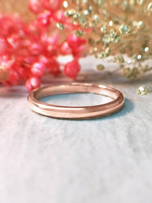 2MM Polished Rounded Wedding Band Solid 14K Rose Gold (14KR) Stackable Classic Women's Engagement Ring
