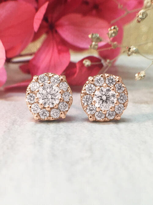 8.2x8.2MM Diamond Cluster Halo Stud <Prong> Solid 14K Rose Gold (14KR) Earrings