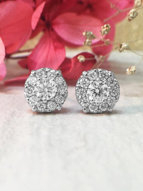 8.2x8.2MM Diamond Cluster Halo Stud <Prong> Solid 14K White Gold (14KW) Earrings
