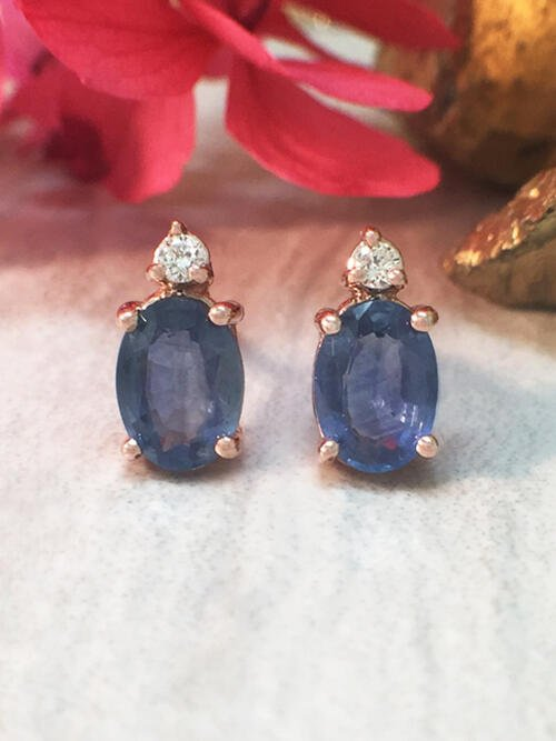 5x7MM Sapphire and Diamond Stud <Prong> Solid 14K Rose Gold (14KR) Colored Stone Earrings