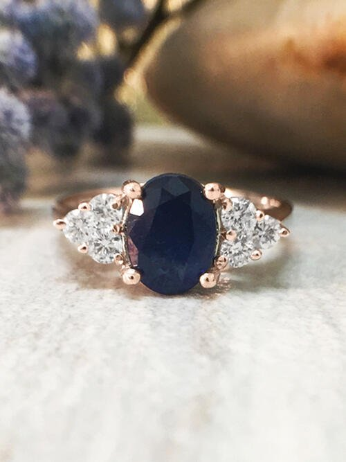 5x7MM Blue Sapphire and Diamond Engagement <Prong> Solid 14K Rose Gold (14KR) Colored Stone Wedding Ring