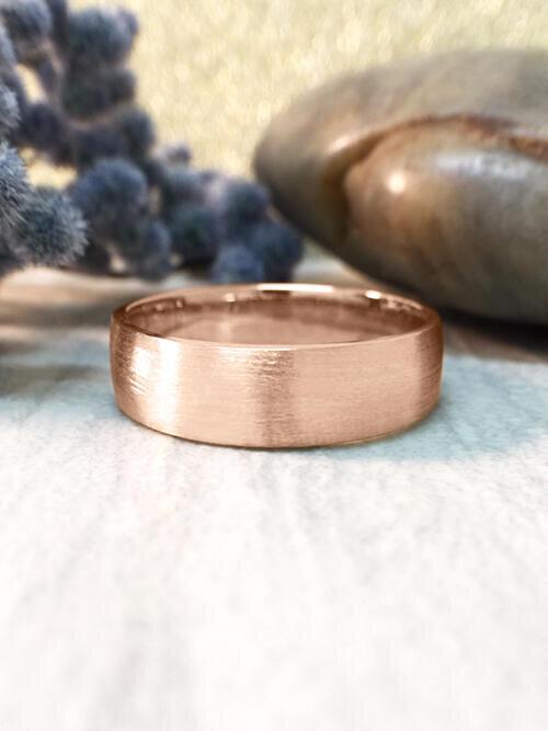 6MM Satin Finish Wedding Band Solid 14K Rose Gold (14KR) Affordable Modern Men's Engagement Ring
