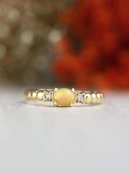 Opal and Diamond Ring | Gemstone Engagement Ring | 6x4mm Ethiopian Opal Ring | Solid Gold | 14K Rose Gold | Fine Jewelry | Free Shipping