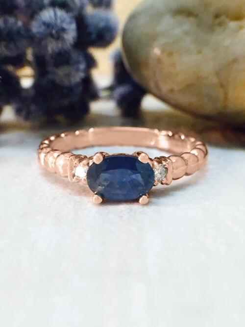 Blue Sapphire and Diamond Ring   Gemstone Engagement Ring   6x4mm Sapphire Ring   Solid Gold   14K Rose Gold   Fine Jewelry   Free Shipping
