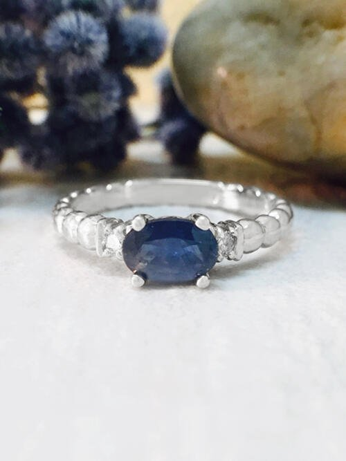 Blue Sapphire and Diamond Ring | Gemstone Engagement Ring | 6x4mm Sapphire Ring | Solid Gold | 14K White Gold | Fine Jewelry | Free Shipping