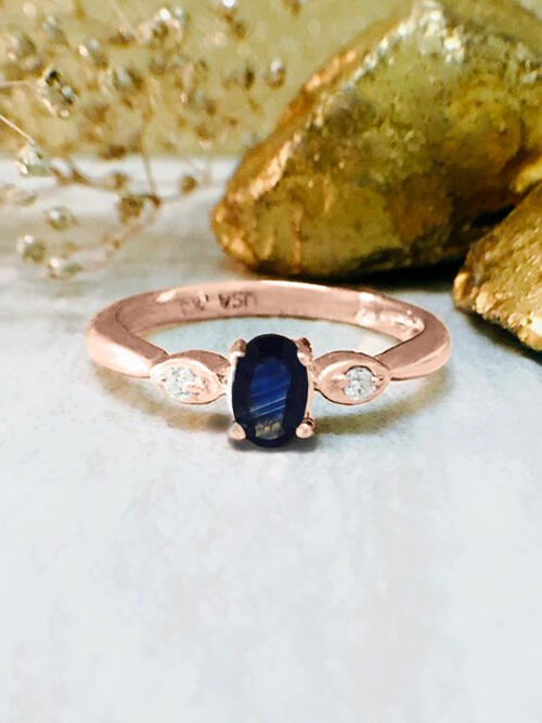 Blue Sapphire and Diamond Ring | Gemstone Engagement Ring | Solid 14K Rose Gold | 5x3MM Blue Sapphire Ring | Fine Jewelry | Free Shipping