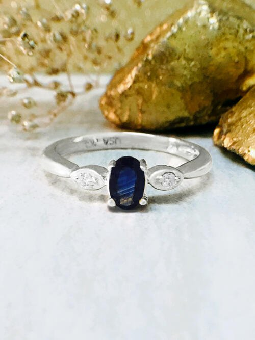 Blue Sapphire and Diamond Ring | Gemstone Engagement Ring | Solid 14K White Gold | 5x3MM Blue Sapphire Ring | Fine Jewelry | Free Shipping