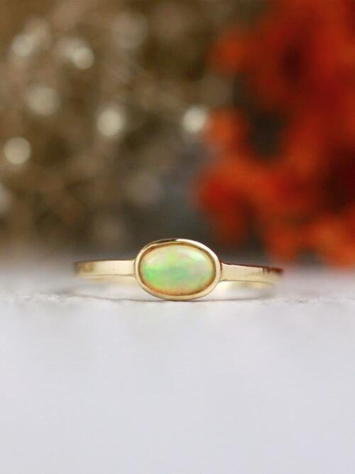 Opal Solitaire Ring | Gemstone Engagement Ring | 6x4MM Ethiopian Opal Ring | Solid Gold | 14K Rose Gold | Fine Jewelry | Free Shipping