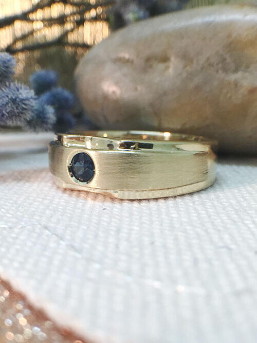 Mens Wedding Band | Blue Sapphire Mens Ring | Solid 14K Yellow Gold Ring | 3mm Sapphire | Matte and Polished | Fine Jewelry | Free Shipping
