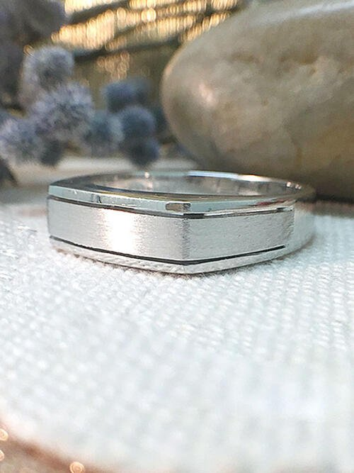 Mens Wedding Band | Angular Mens Ring | Rectangular Mens Ring | Solid 14K White Gold | Matte and Polished | Fine Jewelry | Free Shipping