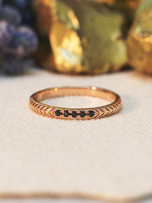 Black Diamond Filigree Band | Black Diamond Wedding Band | Arrow Filigree | Solid 14K Rose Gold Band | Fine Jewelry | Free Shipping