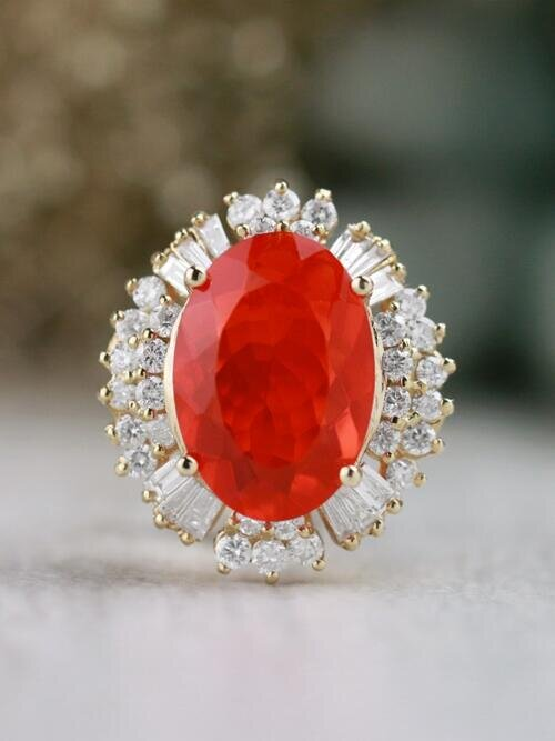 One-of-a-Kind | Fire Opal Ring | 4.31CT Fire Opal | 1.58CT Round Diamonds | Solid 14k Yellow Gold Ring | Estate Fine Jewelry | Free Shipping