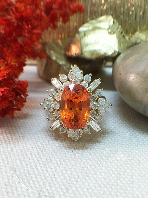5.1CT Mandarin Garnet Ring | 1.15CT Diamonds | Solid 14k Yellow Gold Ring