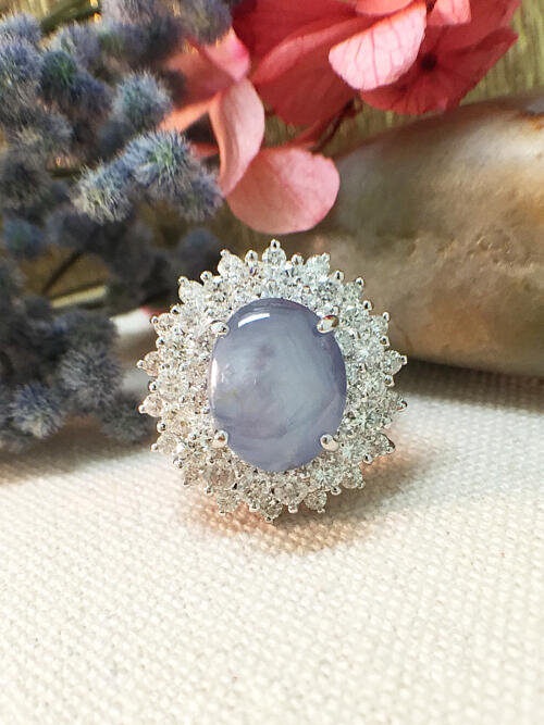 One-of-a-Kind | Star Sapphire Ring | 9.43CT Star Sapphire | 2.16CT Diamonds | Solid 14k White Gold Ring | Estate Fine Jewelry |Free Shipping