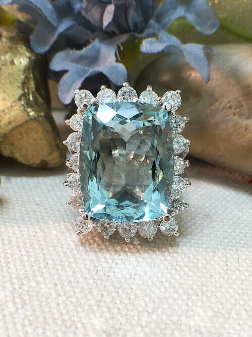 One-of-a-Kind | Aquamarine Ring | 11.91CT Aquamarine | 1.75CT Diamonds | Solid 14k White Gold Ring | Estate Fine Jewelry | Free Shipping