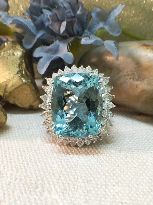 One-of-a-Kind | Aquamarine Ring | 13.94CT Aquamarine | 2.92CT Diamonds | Solid 14k White Gold Ring | Estate Fine Jewelry | Free Shipping