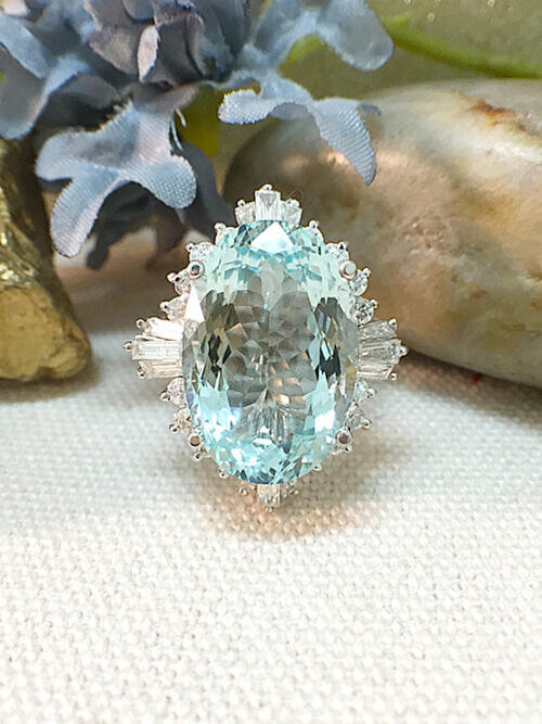 One-of-a-Kind | Aquamarine Ring | 11.57CT Aquamarine | 1.79CT Diamond | Solid 14k White Gold Ring | Estate Fine Jewelry | Free Shipping