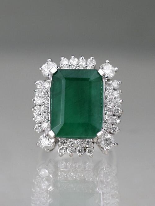 Large Emerald Ring | 10.30CT Emerald | 1.81CT Diamonds | Solid 14k White Gold | Estate Jewelry