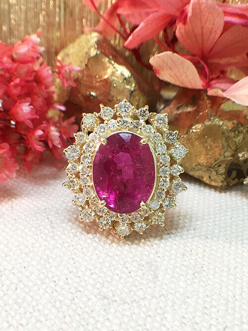 One-of-a-Kind | Tourmaline Ring | 5.15CT Pink Tourmaline | 1.19CT Diamonds | Solid 14k Yellow Gold Ring | Estate Fine Jewelry |Free Shipping