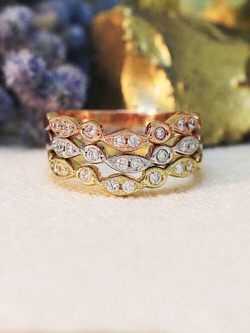 Fine Jewelry Set Diamond Bezel V Bands Stackable Engagement Solid 14k Tri Gold Wedding Free Shipping
