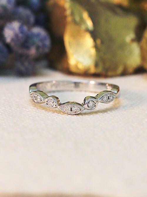 Diamond Bezel V Band | Stackable Engagement Band | Solid 14K White Gold Band | Diamond Wedding Band Ring | Fine Jewelry | Free Shipping