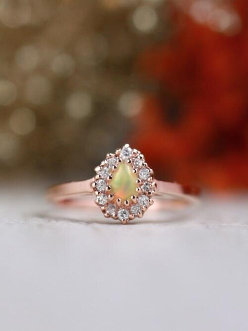 Pear Shaped Opal and Diamond Engagement Ring | Solid 14K Gold | Fine Jewelry | Free Shipping