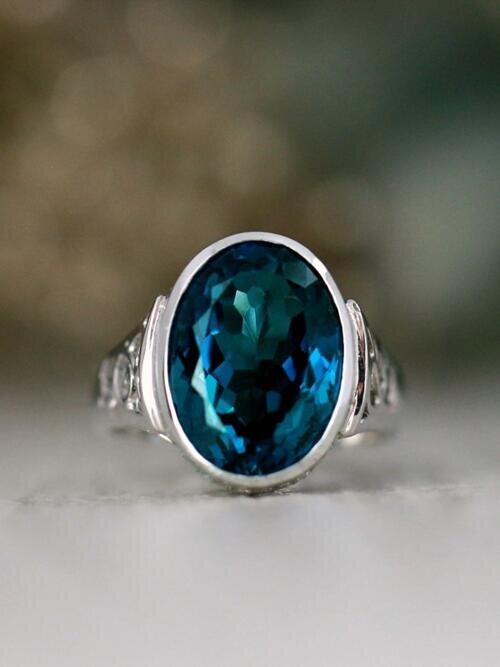 Blue Topaz and Diamond Solid 14 Karat Gold Ring