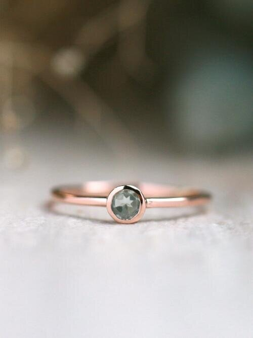 Blue Tourmaline Bezel Ring | Solid 14K Gold  | Gemstone  | Colored Stone | Stackable | October Birthstone | Fine Jewelry | Free Shipping