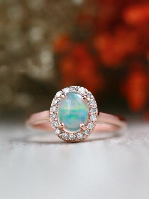 Opal Ring | Diamond Halo | Solid 14K Gold | Gemstone Engagement Ring | October Birthstone | Ethiopian Opal | Fine Jewelry | Free Shipping