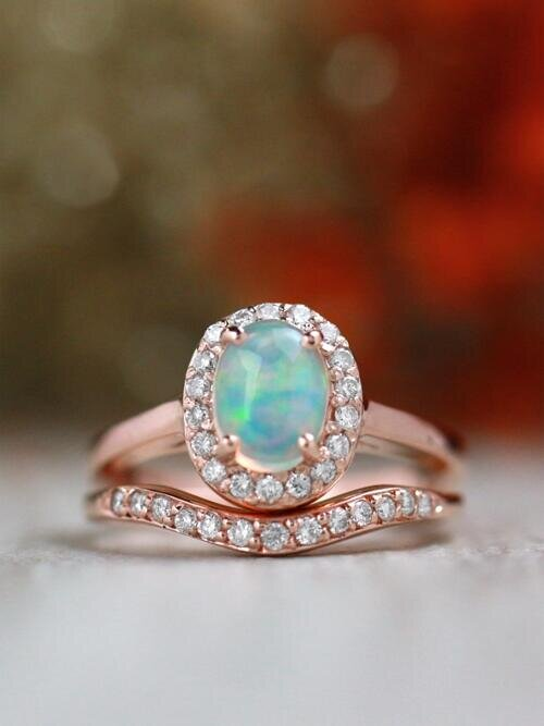 Gemstone Engagement Ring Set | Opal Ring and Matching Diamond Wedding Band | Solid 14K Gold
